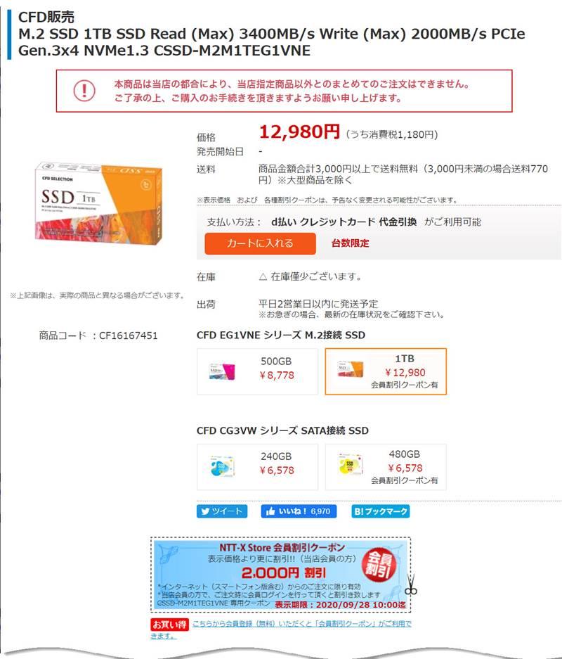 CFD 1TB SSD CSSD-M2M1TEG1VNE が10,980円!