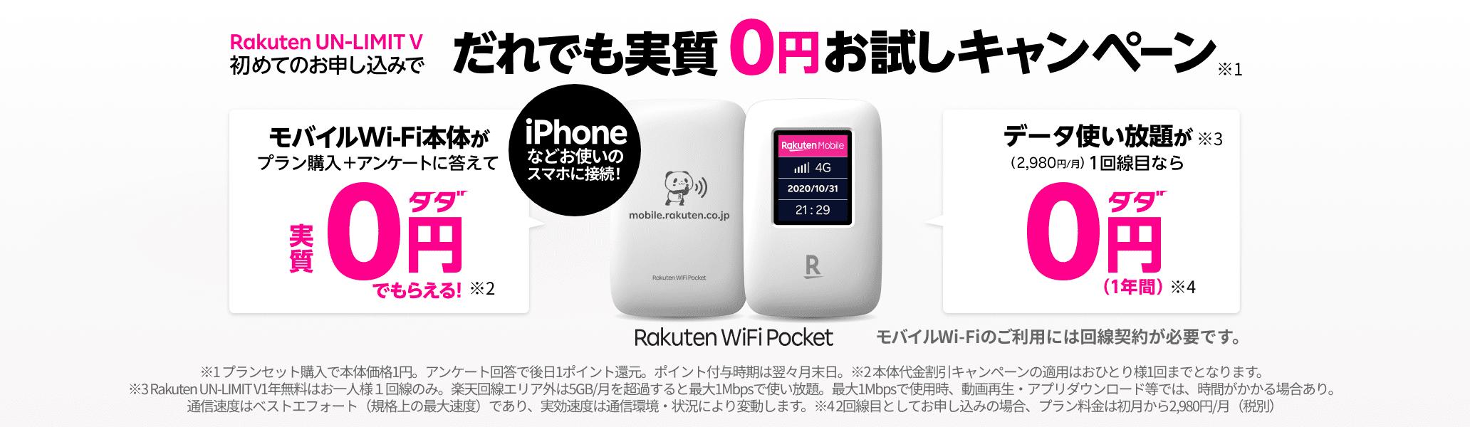 Rakuten WiFi Pocket が実質0円でお試し!
